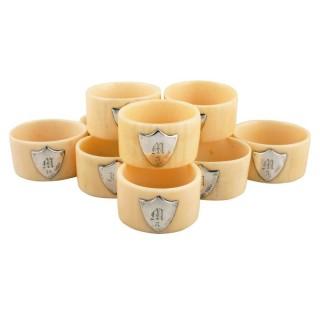Ten Edwardian Bone & Silver Napkin Rings
