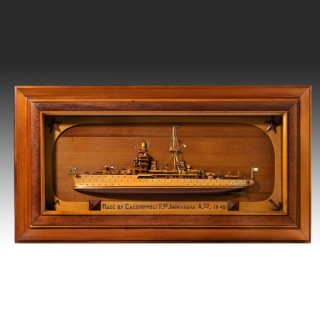 Rare WWII Italian Prisoner of war work model of Italian cruiser 'Zara'