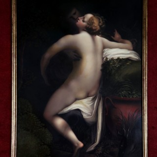 AN ENAMEL PLAQUE OF JUPITER AND IO AFTER CORREGGIO BY HENRY BONE, R.A.