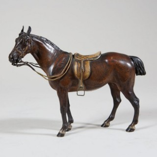 BERGMAN PATINATED AND COLD PAINTED BRONZE HORSE