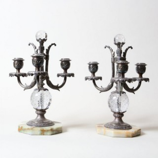 A PAIR OF THREE-LIGHT SILVER PLATE AND CONTROLLED BUBBLE GLASS CANDELABRA