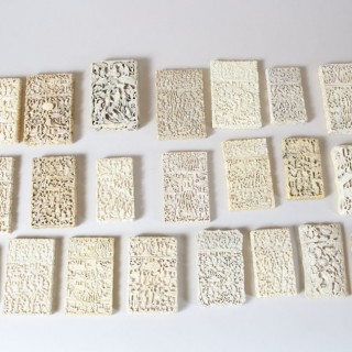 22 CHINESE CARVED IVORY CARD CASES
