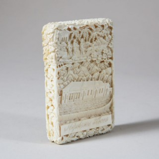 CHINESE CARVED IVORY CARD CASE OF NAPOLEON'S HOUSE AND TOMB