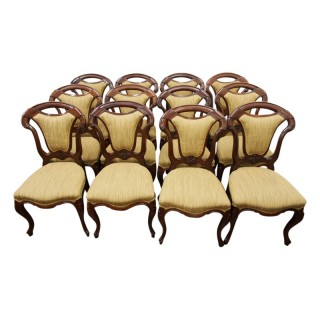 Set of 12 Victorian Mahogany Dining Chairs