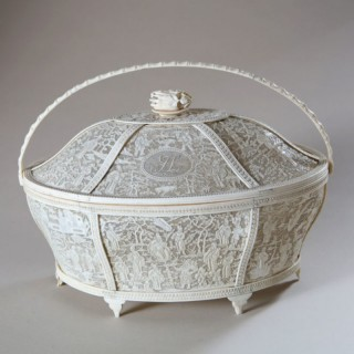CHINESE CARVED IVORY BASKET WITH FLORAL FINIAL AND MONOGRAM