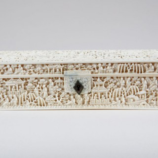 CHINESE EXPORT CARVED IVORY BOX
