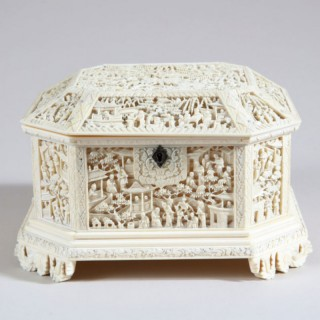 CHINESE EXPORT CARVED IVORY CASKET WITH SILVER HINGES
