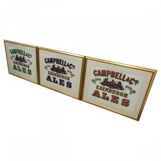 Set of 3 Pub Advertising Prints for Campbell and Co., Edinburgh Ales