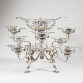 GEORGIAN STYLE EIGHT-BASKET SILVER EPERGNE