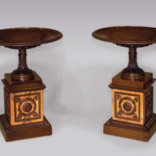 A fine large pair of Regency period bronze and marble Tazzas.