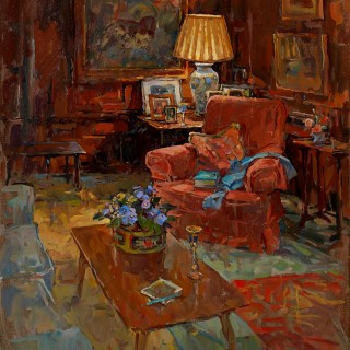 The Oak Room Chair with Violets by Susan Ryder RP NEAC  (born 1944)