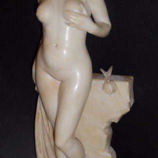 A French 19th Century alabaster sculpture of a nude
