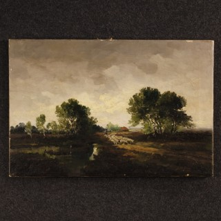 Dutch Signed Painting Oil On Canvas Landscape With Shepherd And Sheep From 20th Century