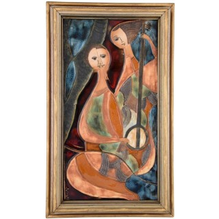 Glazed Ceramic Wall Plaque With Two Women With Instruments.