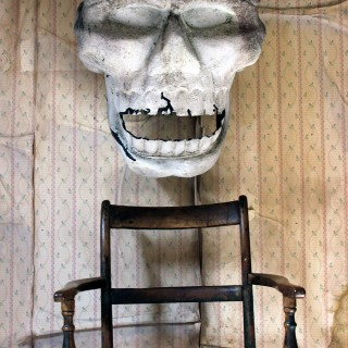 A Very Large Vintage Polychrome Painted Fairground Human Skull from a Ghost Train Ride c.1960
