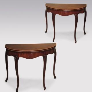 Pair of late 18th Century mahogany Card Tables.