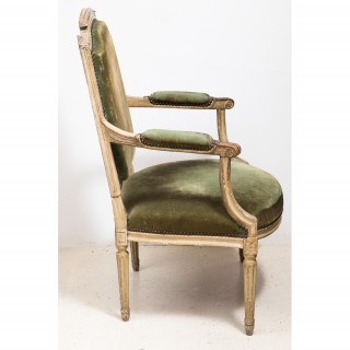 PAIR OF PAINTED LOUIS XVI PERIOD FAUTEUILS CIRCA 1780