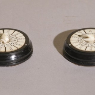 Antique Treen Pair of 19th Century Ebonised Mahogany and Bone Long Whist Markers