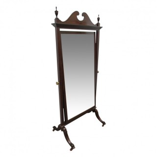 Mahogany and Inlaid Sheraton Style Cheval Mirror