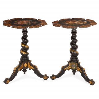 Two gilt and japanned Victorian side tables