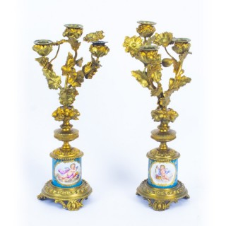 Antique Pair Sevres Bleu Celeste Porcelain Ormolu Candelabra 19th C
