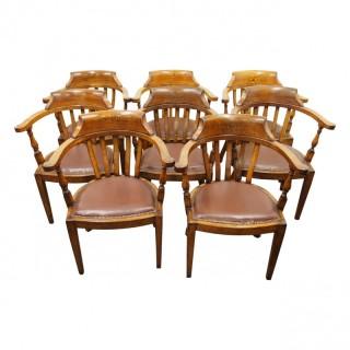 Rare Set of 8 Edwardian Oak Captains Chairs