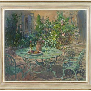 Terrace with Roses, Le Beduer by Susan Ryder RP NEAC