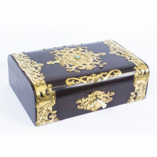 Antique Mahogany & Cut Brass Turquoise Mounted Jewellery Casket c.1860