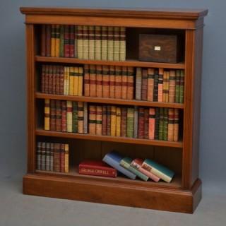 Victorian Solid Walnut Open Bookcase