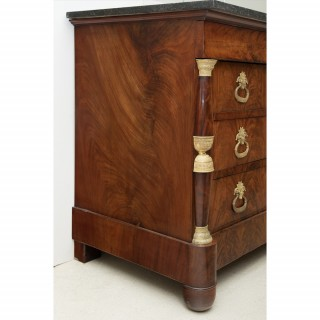 LATE EMPIRE / EARLY RESTAURATION FLAME MAHOGANY COMMODE