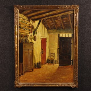 Belgian Interior Scene Painting Oil On Canvas Signed By Pieter Stobbaerts From 20th Century