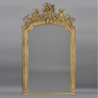 A Large and Impressive Louis XVI Style Carved Giltwood and Gesso Mirror