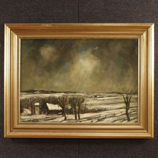 Dutch Signed Painting Oil On Canvas Winter Landscape From 20th Century
