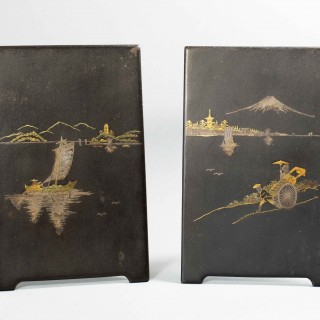 PAIR OF JAPANESE MEIJI PERIOD KOMAI STYLE IRON PLAQUES