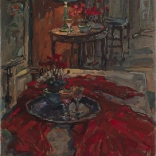 Cyclamen with Red Cloth by Susan Ryder RP NEAC