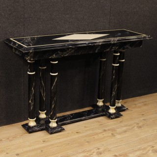 French Console Table In Lacquered Faux Marble Wood From 20th Century