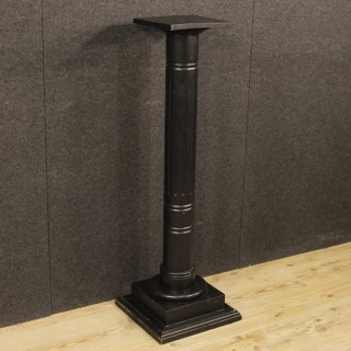 French Black Painted Wooden Column From 20th Century