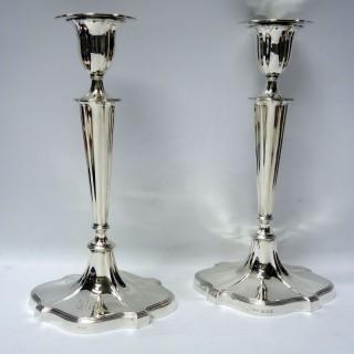 Georgian Style Silver Candlesticks