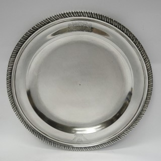 Antique George II Silver Dinner Plates by Paul de Lamerie