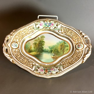 A Fine Staffordshire Dessert Service Painted With The Great Houses of Britain