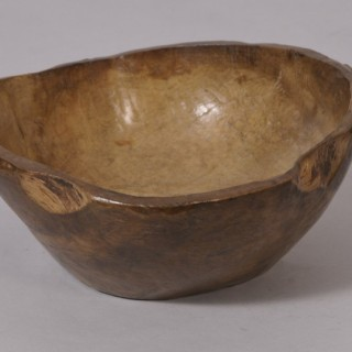 Antique Treen 19th Century Dug Out Birch Bowl
