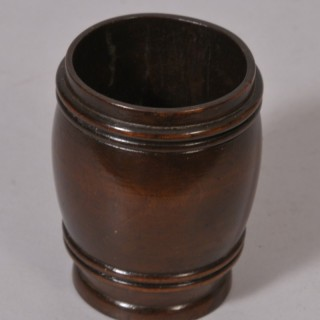 Antique Treen 19th Century Fruitwood Barrel Shaped Spill or Match Holder