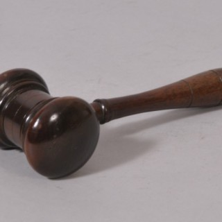 Antique Treen 19th Century Fruitwood Gavel