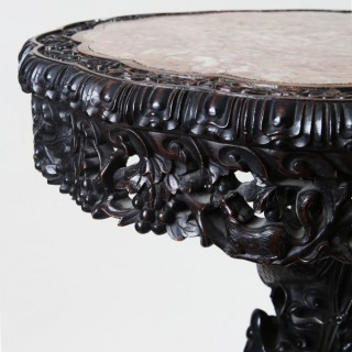 CHINESE HARDWOOD CARVED 19TH CENTURY SIDE TABLE