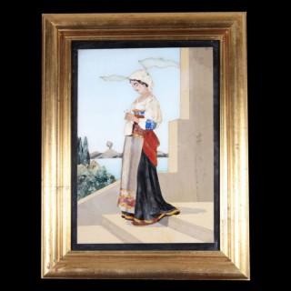 ITALIAN 19TH CENTURY PIETRA DURA PANEL OF A FEMALE PEASANT