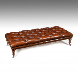 Large 19th Century Deep Buttoned leather Walnut Stool