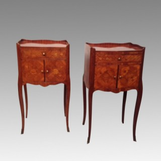 Pair of French kingwood and marquetry bedside tables.