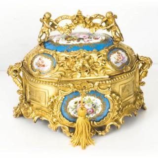Antique Gilt Bronze Casket Inset Sevres Porcelain Plaques 19th Century
