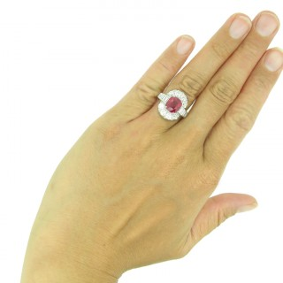 Natural unenhanced pigeon blood Burmese ruby and diamond ring, circa 1935.