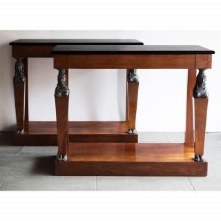 PAIR OF FRENCH CONSULAT PERIOD  CONSOLE TABLES CIURCA 1800